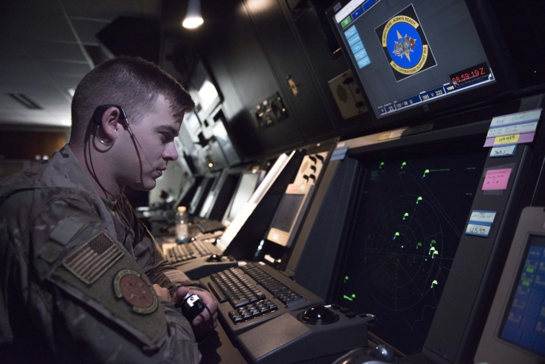 U.S. Air Force Staff Sgt. Charles Stackhouse, 39th Operations Support Squadron air traffic controller, monitors a radar Aug. 9, 2019, at Incirlik Air Base, Turkey. Air traffic controllers play a crucial role in preventing aircraft-related incidents. (U.S. Air Force photo by Staff Sgt. Joshua Magbanua)