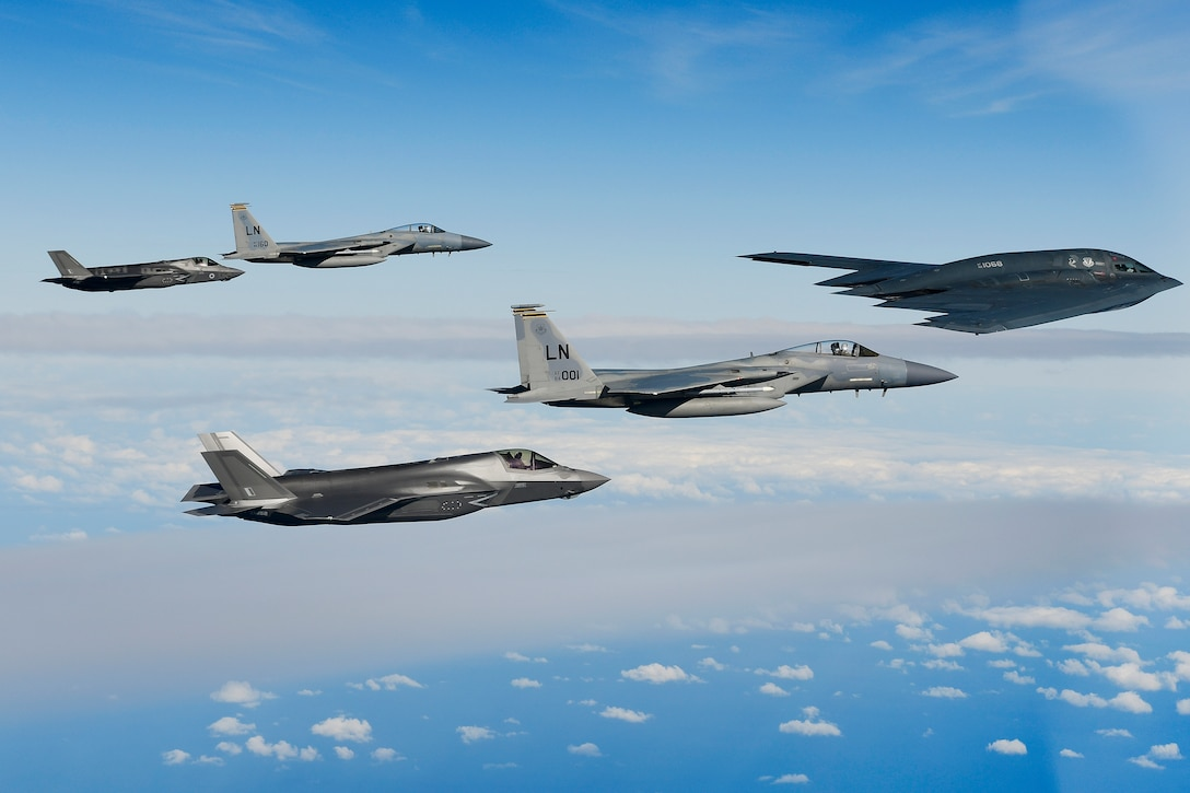 A B-2A Spirit bomber assigned to the 509th Bomb Wing leads a delta formation consisting of two F-15C Eagles assigned to the 48th Fighter Wing and two Royal Air Force F-35B Lightnings as they conduct aerial operations over the North Sea Sept. 16, 2019. The 48th Fighter Wing and the Royal Air Force routinely train with integrated 4th and 5th generation capabilities to deliver full spectrum air combat support to European allies and partners. (U.S. Air Force photo/ Tech. Sgt. Matthew Plew)