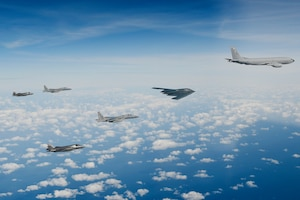 A delta formation consisting of a B-2A Spirit bomber assigned to the 509th Bomb Wing, two F-15C Eagles assigned to the 48th Fighter Wing and two Royal Air Force F-35B Lightnings as they conduct aerial refuelling operations with a KC-135 Stratotanker assigned to the 100th Air Refuelling Wing over the North Sea Sept. 16, 2019. The 48th Fighter Wing and the Royal Air Force routinely train with integrated 4th and 5th generation capabilities to deliver full spectrum air combat support to European allies and partners. (U.S. Air Force photo/ Tech. Sgt. Matthew Plew)