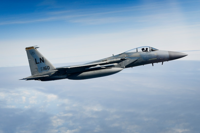 F-15C Eagles assigned to the 48th Fighter Wing conduct air operations over the North Sea Sept. 16, 2019. The 48th Fighter Wing routinely trains with integrated aerial platform capabilities to deliver full spectrum air combat support to European allies and partners. (U.S. Air Force photo/ Tech. Sgt. Matthew Plew)