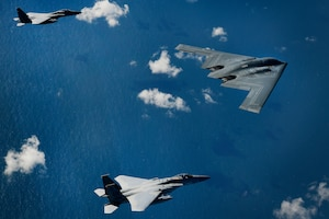 A B-2A Spirit bomber assigned to the 509th Bomb Wing and two F-15C Eagles assigned to the 48th Fighter Wing conduct aerial operations over the North Sea Sept. 16, 2019. The 48th Fighter Wing and the Royal Air Force routinely train with integrated 4th and 5th generation capabilities to deliver full spectrum air combat support to European allies and partners. (U.S. Air Force photo/ Tech. Sgt. Matthew Plew)