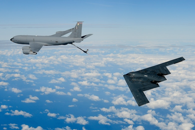 A B-2A Spirit bomber assigned to the 509th Bomb Wing, conducts aerial refuelling operations with a KC-135 Stratotanker assigned to the 100th Air Refuelling Wing over the North Sea Sept. 16, 2019. The B-2 is currently deployed to the United Kingdom as part of Bomber Task Force Europe, which is focused on strengthening multinational relationships and improving allied cooperation. (U.S. Air Force photo/ Tech. Sgt. Matthew Plew)