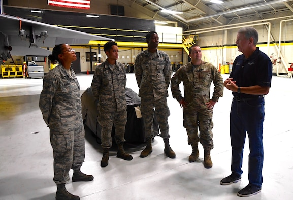Retired Chief Master Sgt. Rodney McKinley, the 15th Chief Master Sgt. of the Air Force, talks with several Airmen assigned to the 4th Aircraft Maintenance Squadron, Sept. 13, 2019, at Seymour Johnson Air Force Base, North Carolina. Chief McKinley served as the CMSAF from 2006 to 2009. (U.S. Air Force Photo by Staff Sgt. Michael Charles)