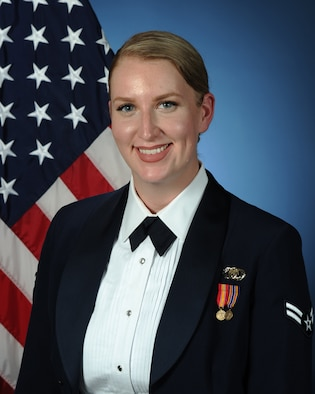 Official photo of A1C Leah Fox, Vocalist with The United States Air Force Band of the West, Joint Base San Antonio.