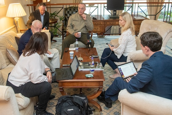 Marine Corps Gen. Joe Dunford, chairman of the Joint Chiefs of Staff, speaks to media before departing London, United Kingdom Sept. 17, 2019.