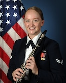 Official photo of A1C Jessica Hughes, Clarinetist with The United States Air Force Band of the West, Joint Base San Antonio.