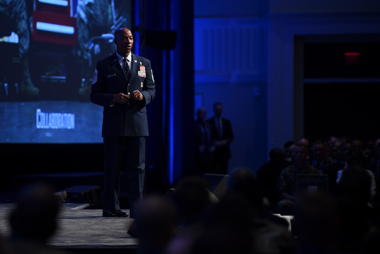 Chief Master Sgt. of the Air Force Kaleth O. Wright delivers a speech on leading with purpose during the Air Force Association's Air, Space and Cyber Conference in National Harbor, Md., Sept. 18, 2019. The ASC Conference is a professional development seminar that offers the opportunity for Department of Defense personnel to participate in forums, speeches and workshops. This annual event features engaging speakers and panels focused on airpower, space and cyber developments and a technology exposition featuring the latest technology, equipment and solutions for tomorrow's problems. The ASC has something for everyone. (U.S. Air Force photo by Andy Morataya)