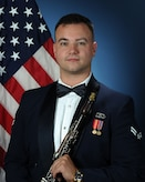 Official photo of A1C James Campbell, Clarinetist with The United States Air Force Band of the West, Joint Base San Antonio.