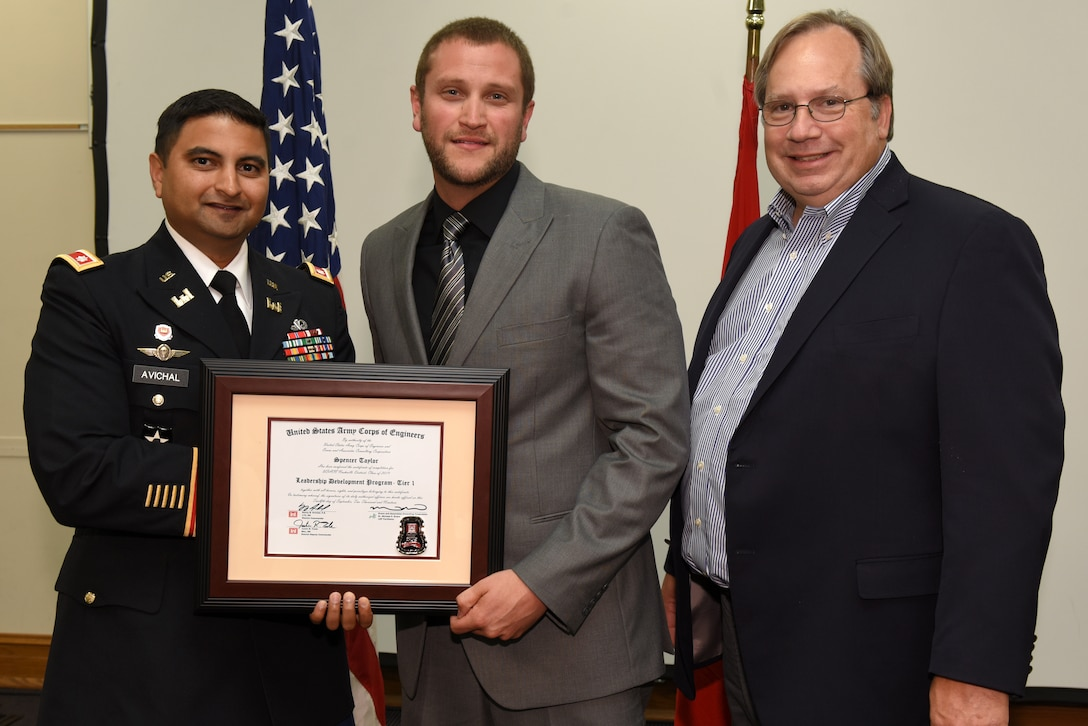 Spencer Taylor, U.S. Army Corps of Engineers Nashville District, receives a certificate of completion for the 2019 Leadership Development Program Level I Course from Lt. Col. Sonny B. Avichal, Nashville District commander, and Michael Evans, course instructor, during a graduation ceremony Sept. 12, 2019 at the Scarritt Bennett Center in Nashville, Tenn. (USACE Photo by Lee Roberts)