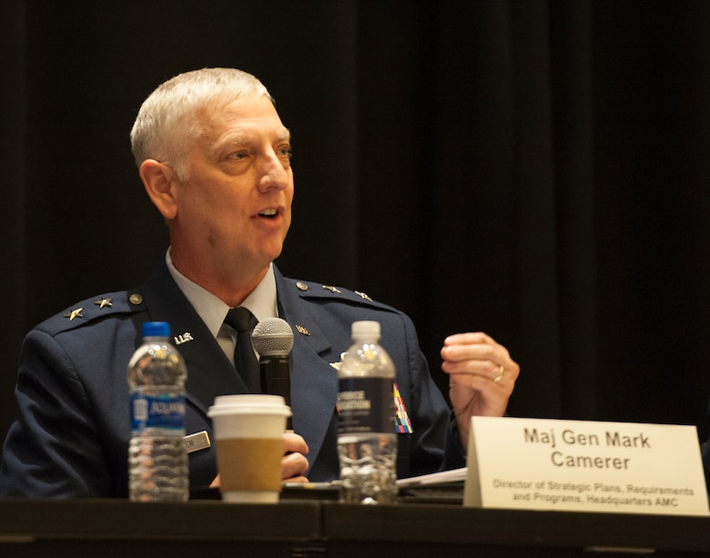 Maj. Gen. Mark Camerer, Air Mobility Command strategic plans, requirements and programs director, participates in the Expanding the Competitive Airlift Edge panel during the Air Force Association Air, Space and Cyber Conference in National Harbor, Md., Sept. 17, 2019. The ASC Conference is a professional development conference that offers the opportunity for Department of Defense personnel to participate in forums, speeches and workshops. (U.S. Air Force photo by Tech. Sgt. Robert Barnett)