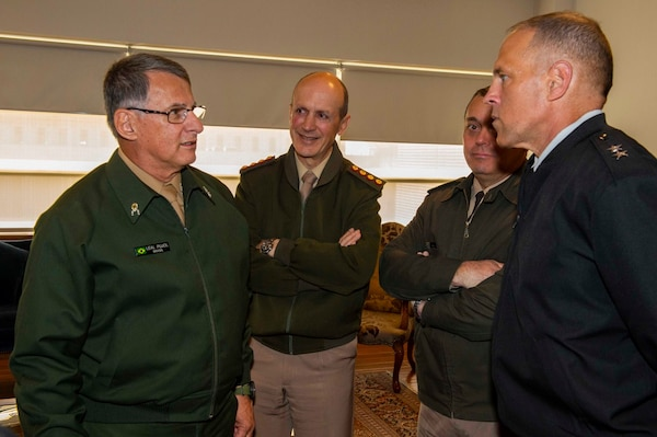 Maj. Gen. Daniel Walrath (right), U.S. Army South commanding general, visits with Gen. Edson Leal Pujol (left), Brazilian Army commander, and his delegation, in Santiago, Chile, Sept. 17. Walrath traveled to Santiago where he joined other partner nation army leaders to celebrate Chile's Independence Day and The Day of the Glories of the Chilean Army.