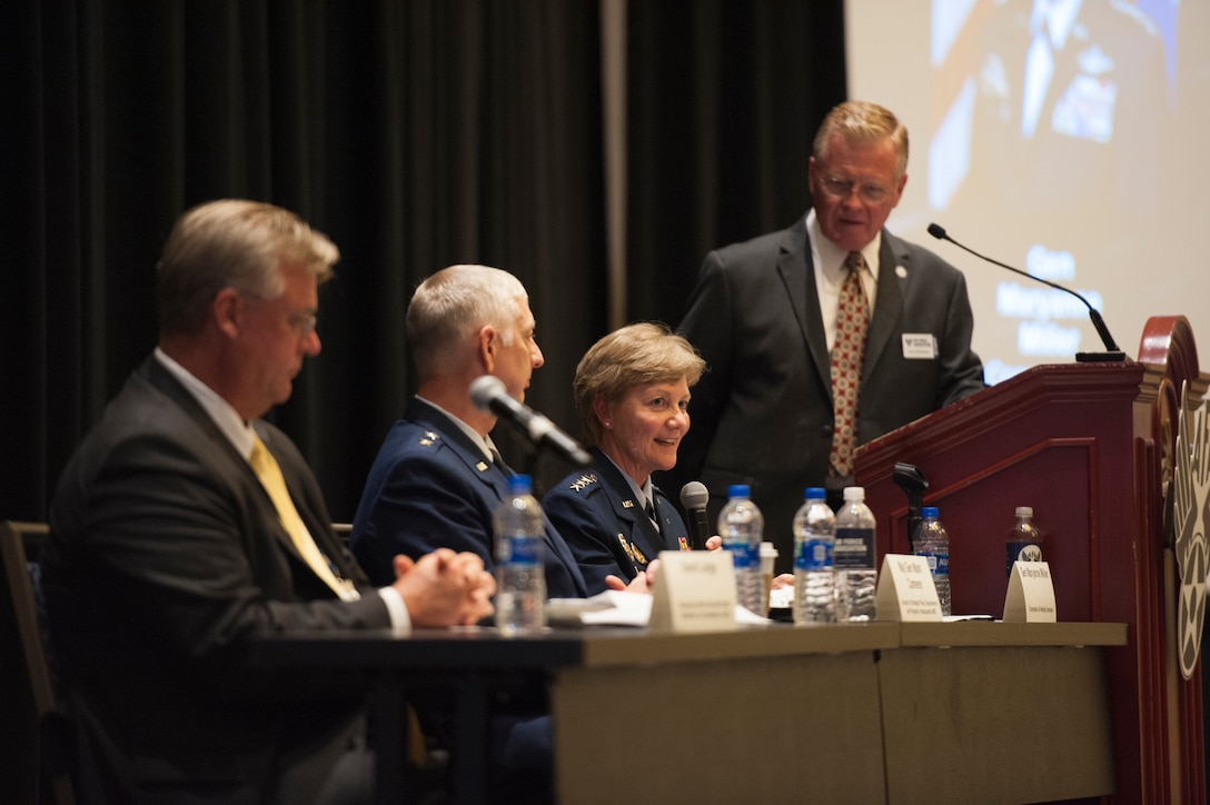 David Lange Jr., Federal Express managing director, Maj. Gen. Mark Camerer, Air Mobility Command strategic plans, requirements and programs director, and Gen. Maryanne Miller, Air Mobility Command commander, participate in the Expanding the Competitive Airlift Edge panel during the Air Force Association Air, Space and Cyber Conference in National Harbor, Md., Sept. 17, 2019. The ASC Conference is a professional development conference that offers the opportunity for Department of Defense personnel to participate in forums, speeches and workshops. (U.S. Air Force photo by Tech. Sgt. Robert Barnett)