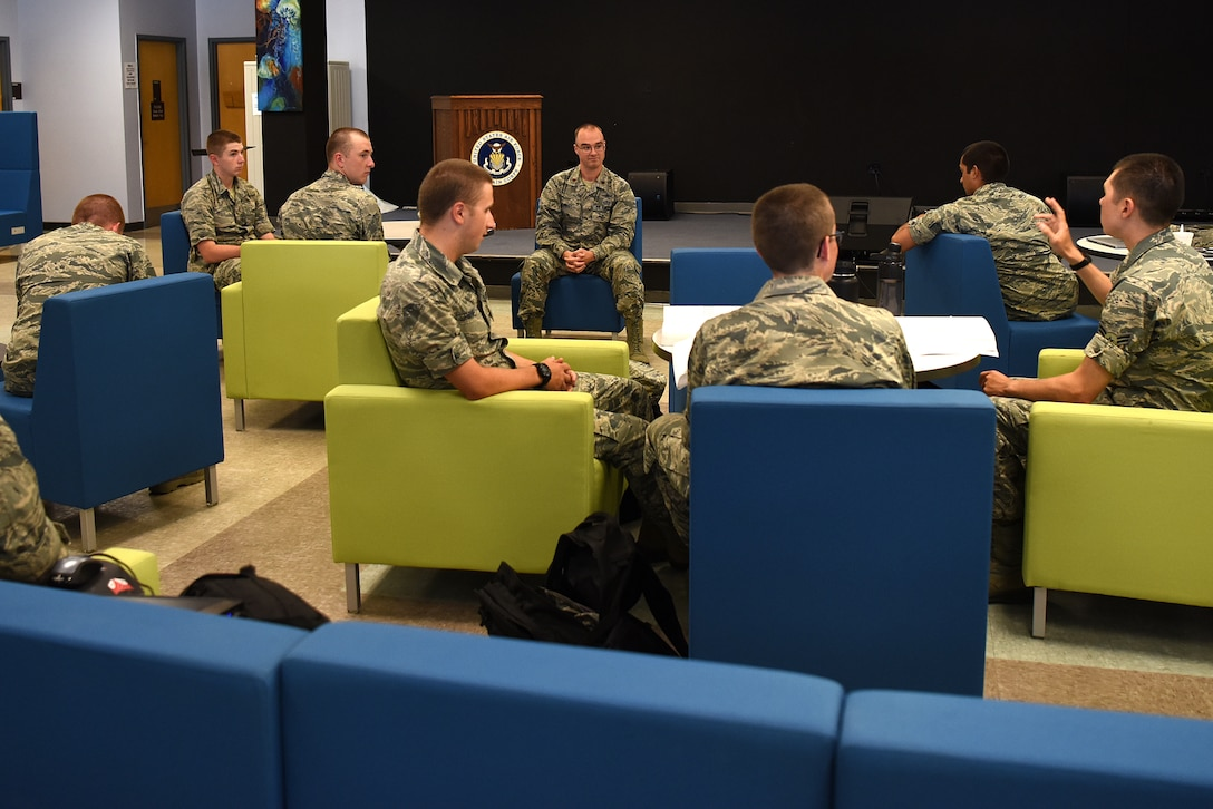 U.S. Air Force Maj. John Nagy, 336th Training Squadron director of operations, talks to Airmen from the 336th TRS inside the Levitow Training Support Facility on Keesler Air Force Base, Mississippi, Sept. 12, 2019. The 336th TRS revamped their Awaiting Further Instruction program and turned it into a multi-tracked program that prepares Airmen for life in the Air Force. (U.S. Air Force photo by Senior Airman Suzie Plotnikov)