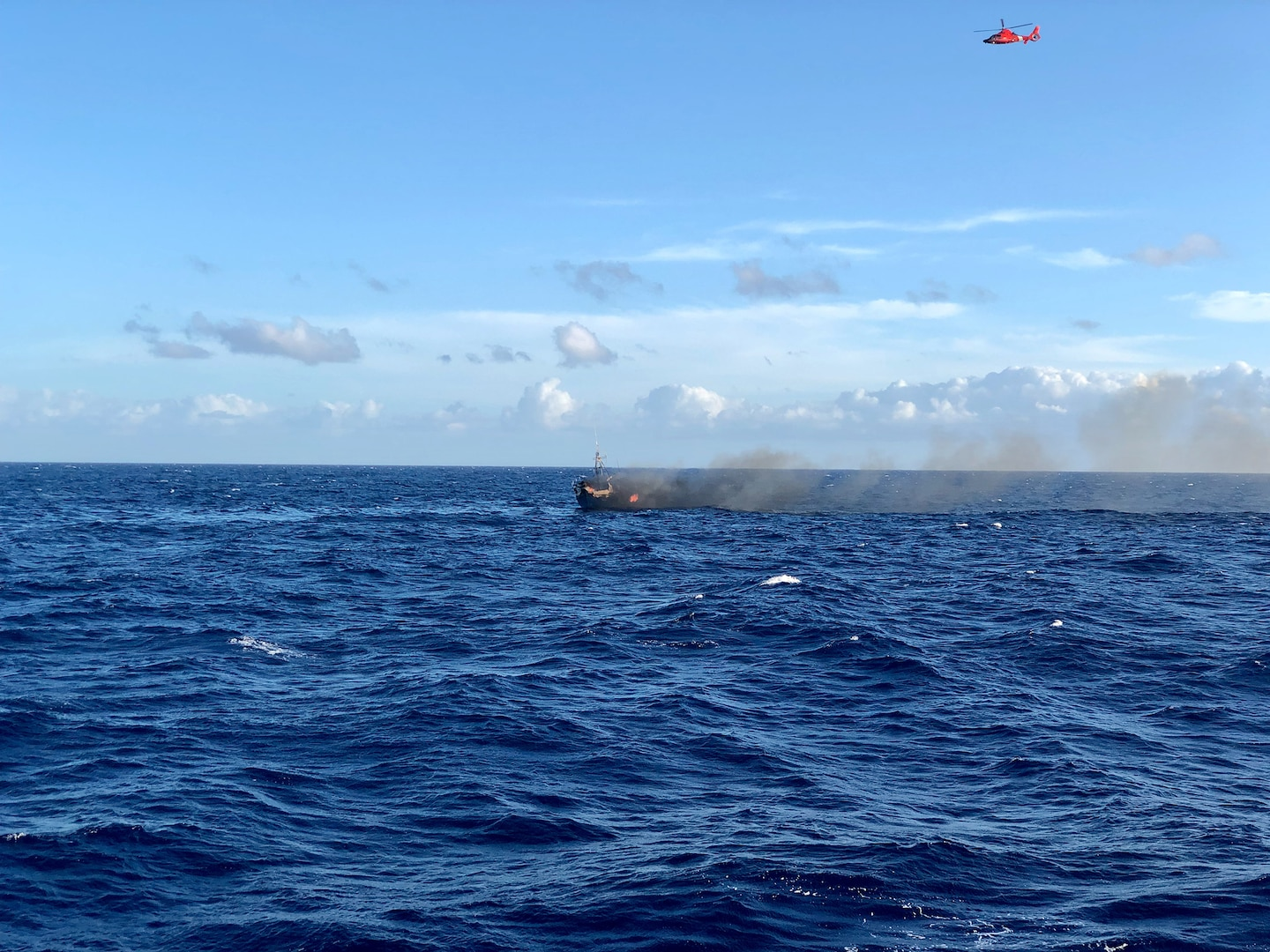 Coast Guard Rescues 7 Mariners from Vessel on Fire off Oahu