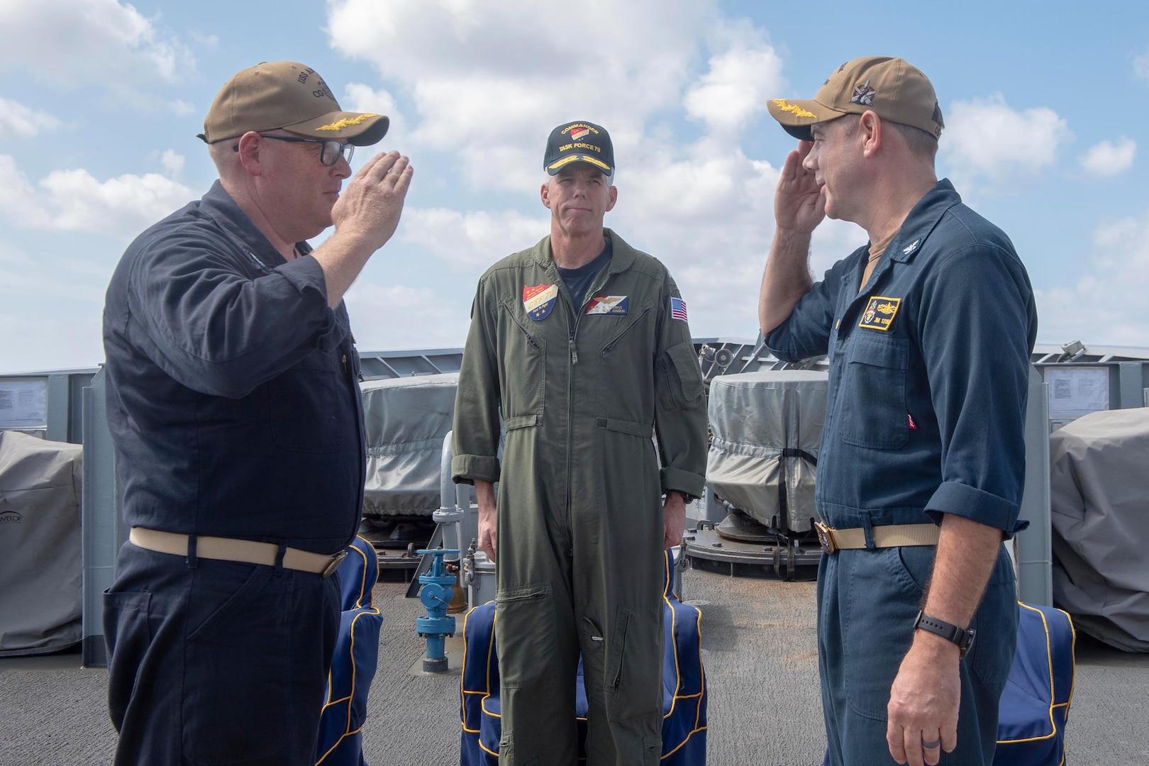 USS Antietam Holds Change of Command Ceremony