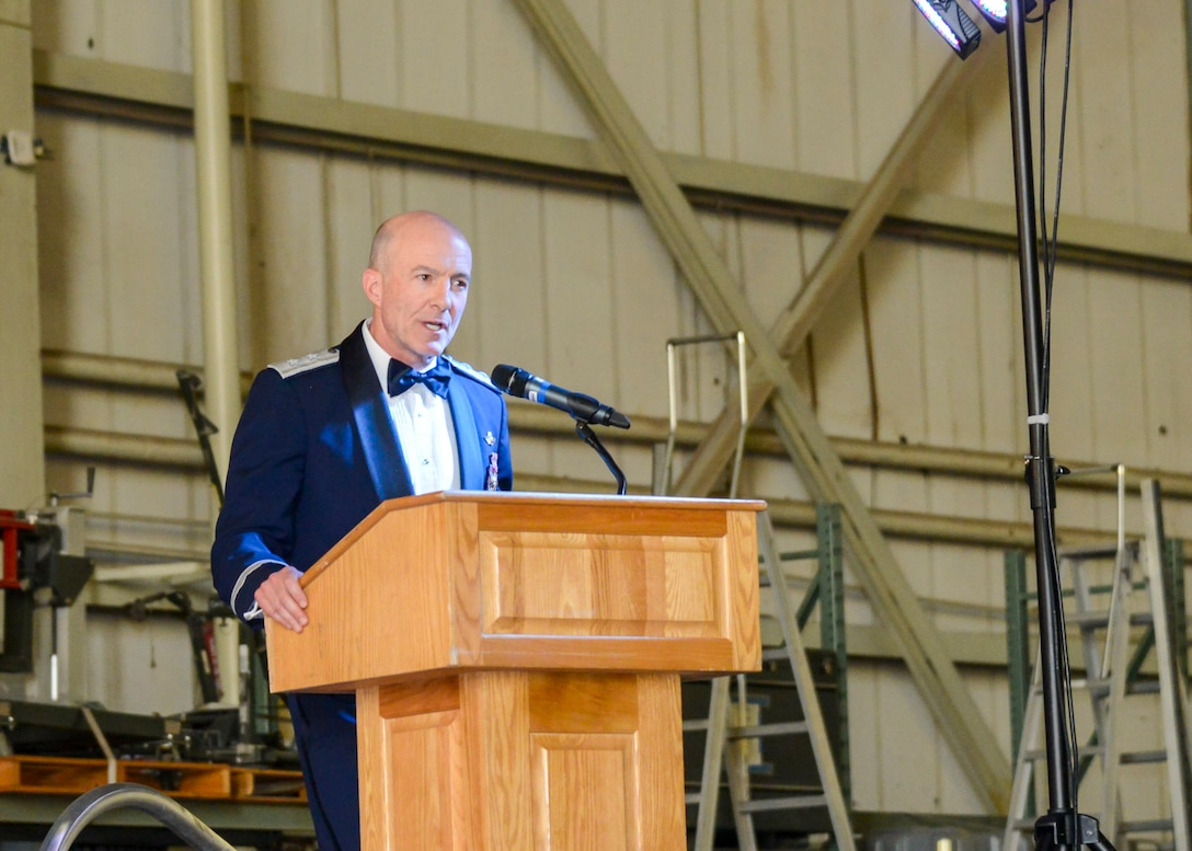 Maj. Gen. Christopher Azzano, Air Force Test Center Commander, address Team Edwards during the 2019 Air Force Ball at Edwards Air Force Base, California, Sept. 14 (U.S. Air Force photo by Giancarlo Casem)