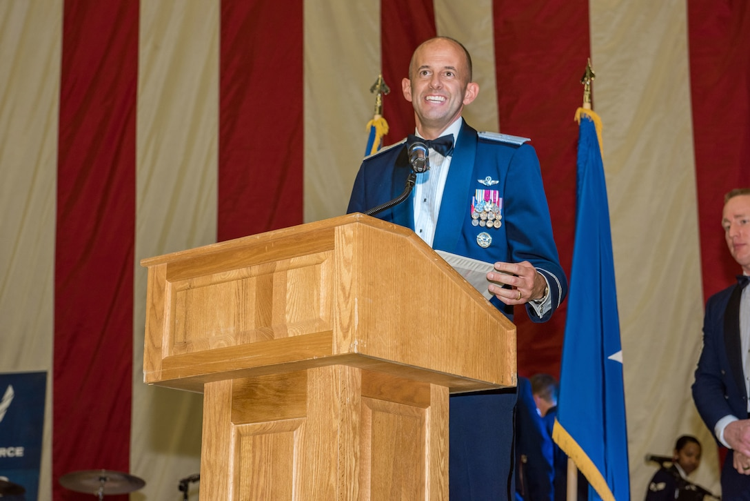 412th Test Wing Commander, Brig. Gen. E. John Teichert, addresses ball attendees during the 2019 Air Force Ball at Edwards Air Force Base, California, Sept. 14. (U.S. Air Force photo by Matt Williams)