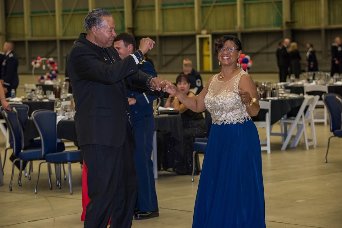 Coffee4Vets president Juan Blanco and his wife, Atherine, dance during the 2019 Air Force Ball at Edwards Air Force Base, California, Sept. 14. (U.S. Air Force photo by Matt Williams)