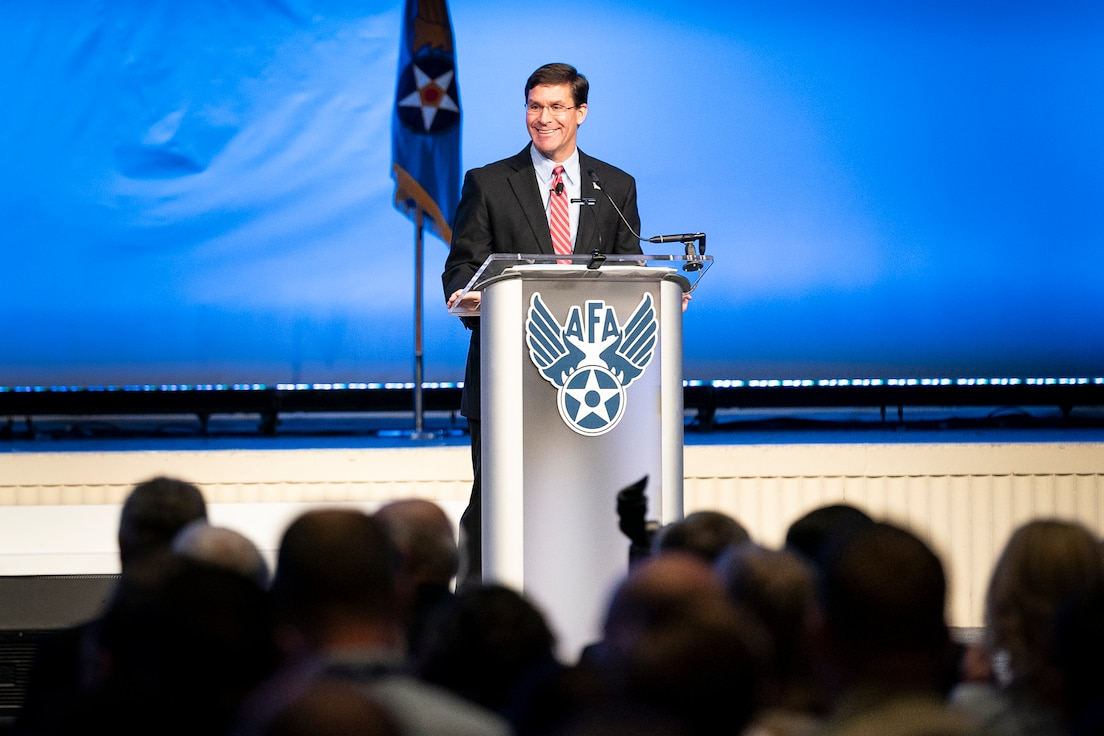 Secretary of Defense Mark T. Esper delivers a speech during the Air Force Association's Air, Space and Cyber Conference in National Harbor, Md., Sept. 18, 2019. The ASC Conference is a professional development seminar that offers the opportunity for Department of Defense personnel to participate in forums, speeches and workshops. (U.S. Air Force photo by Tech. Sgt. D. Myles Cullen)