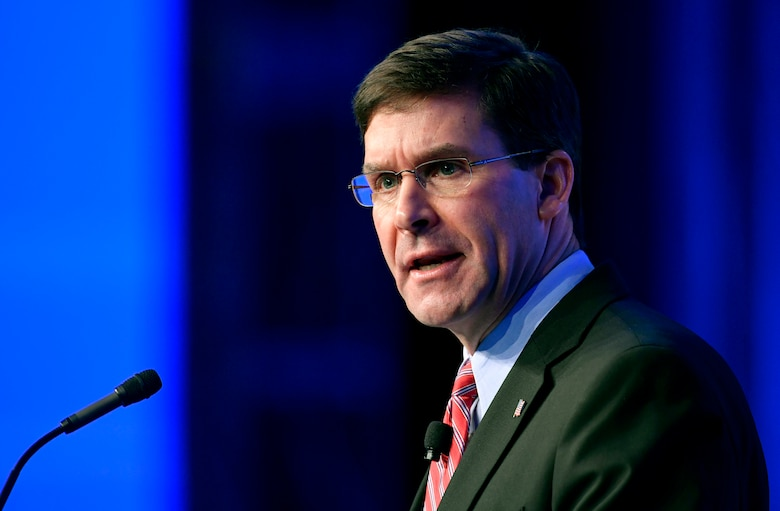 Secretary of Defense Mark T. Esper delivers a speech during the Air Force Association's Air, Space and Cyber Conference in National Harbor, Md., Sept. 18, 2019. The ASC Conference is a professional development seminar that offers the opportunity for Department of Defense personnel to participate in forums, speeches and workshops. (U.S. Air Force photo by Wayne Clark)