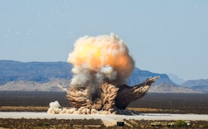 A rocket motor, filled with carboxyl-terminated polybutadiene (CTPB), is detonated during a demolition operation Sept. 12, 2019, at the Barry M. Goldwater Range near Gila Bend, Ariz.