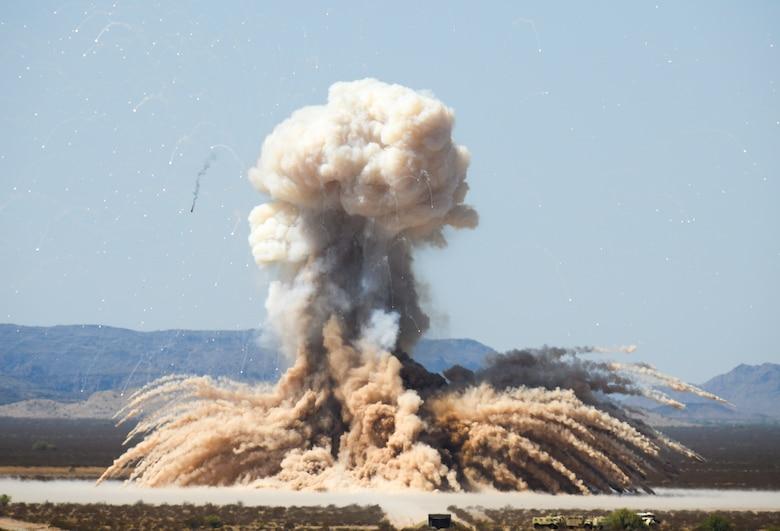 A rocket motor is detonated during a demolition operation Sept. 12, 2019, at the Barry M. Goldwater Range near Gila Bend, Ariz.