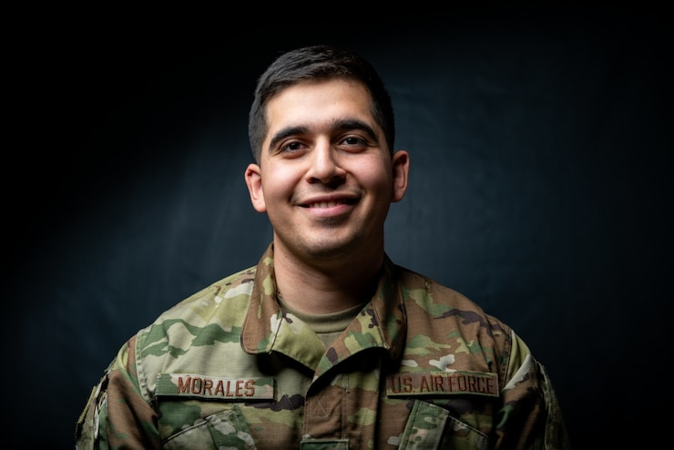 A photo of Staff Sgt. Humberto Morales, F-35 Demonstration Team aircrew flight equipment technician poses for a portrait Feb. 7, 2019, at Luke Air Force Base, Ariz. Morales is responsible for inspecting and maintaining the pilot's life support gear prior to flight during each airshow. (U.S. Air Force photo by Senior Airman Alexander Cook)