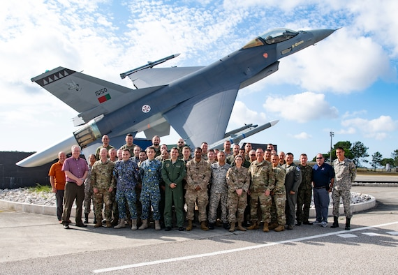 Air Force participants from eight nations, including the U.S., pose for a photo at the European Partnership Flight at Monte Real Air Base, Portugal, Sept. 9, 2019. The European Partnership Flight serves as an opportunity for the U.S. and partner nations to share best practices, strengthen relationships, and build trust. (U.S. Navy photo by Mass Communication Specialist 2nd Class Deanna C. Gonzales)