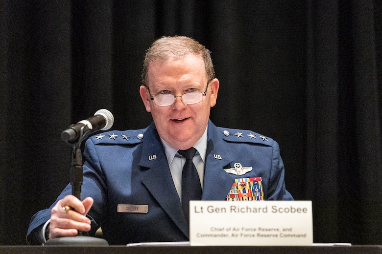 Lt. Gen. Richard Scobee, Air Force Reserve Command commander, participates in the 'using the competitive edge to train how we fight' panel during the Air Force Association Air, Space and Cyber Conference in National Harbor, Maryland, Sept. 18, 2019. The ASC Conference is a professional development seminar that offers the opportunity for Department of Defense personnel to participate in forums, speeches and workshops. (U.S. Air Force photo by Tech. Sgt. D. Myles Cullen)