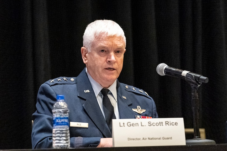 Lt. Gen. Scott L. Rice, Air National Guard director participates in the 'using the competitive edge to train how we fight' panel during the Air Force Association Air, Space and Cyber Conference in National Harbor, Maryland, Sept. 18, 2019. The ASC Conference is a professional development seminar that offers the opportunity for Department of Defense personnel to participate in forums, speeches and workshops. (U.S. Air Force photo by Tech. Sgt. D. Myles Cullen)