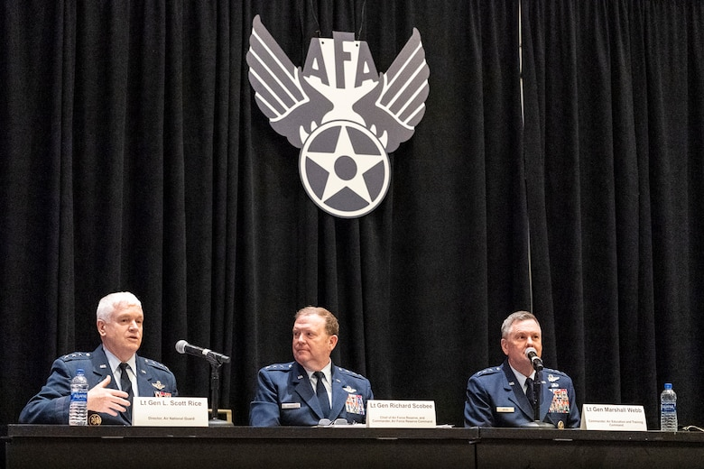 Lt. Gen. Brad Webb, Air Education and Training Command commander; Lt. Gen. Scott L. Rice, Air National Guard director and Lt. Gen. Richard Scobee, Air Force Reserve Command commander, participate in the 'using the competitive edge to train how we fight' panel during the Air Force Association Air, Space and Cyber Conference in National Harbor, Maryland, Sept. 18, 2019. The ASC Conference is a professional development seminar that offers the opportunity for Department of Defense personnel to participate in forums, speeches and workshops. (U.S. Air Force photo by Tech. Sgt. D. Myles Cullen)
