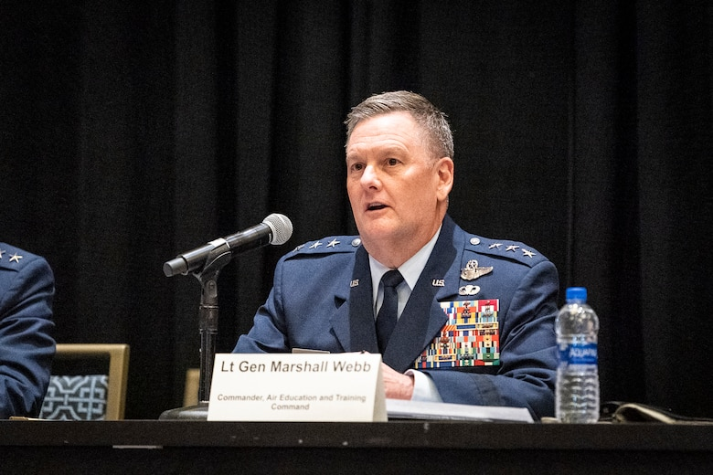 Lt. Gen. Brad Webb, Air Education and Training Command commander participates in the using the competitive edge to train how we fight panel during the Air Force Association Air, Space and Cyber Conference in National Harbor, Md., Sept. 18, 2019. The ASC Conference is a professional development seminar that offers the opportunity for Department of Defense personnel to participate in forums, speeches and workshops. (U.S. Air Force photo by Tech. Sgt. D. Myles Cullen)