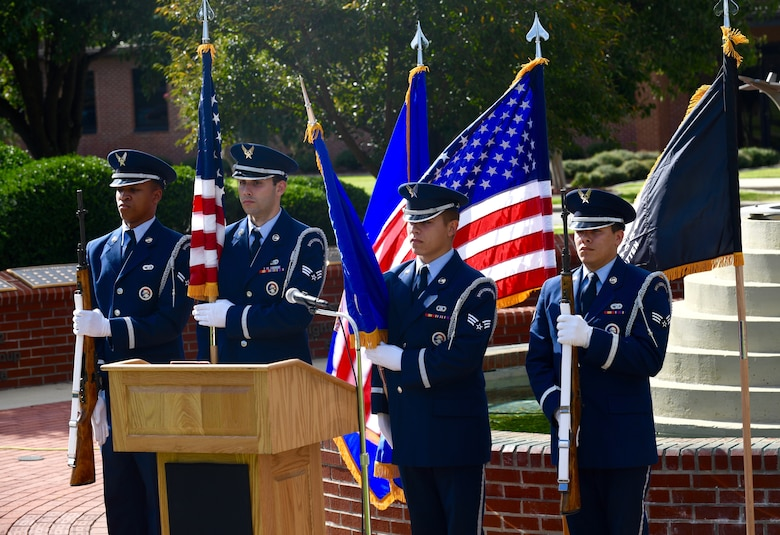 Members of the Base Honor Guard present the colors during the POW/MIA Ceremony on Sept. 18, 2019, at Seymour Johnson Air Force Base, North Carolina. The ceremony, held in conjunction with national POW/MIA Recognition Day, also featured a missing-man formation flyover by four F-15E Strike Eagles assigned to the 4th FW, a reading of the Code of Conduct, a special presentation of the colors by the base honor guard and remarks by Goldsboro City Councilman Bill Broadway. (U.S. Air Force photo by Staff Sgt Michael Charles)