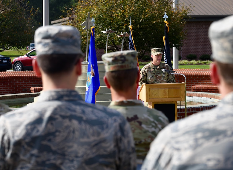 Col. Brian Montgomery, 4th Fighter Wing vice commander, speaks during the POW/MIA Ceremony on Sept. 18, 2019, at Seymour Johnson Air Force Base, North Carolina. The ceremony, held in conjunction with national POW/MIA Recognition Day, also featured a missing-man formation flyover by four F-15E Strike Eagles assigned to the 4th FW, a reading of the Code of Conduct, a special presentation of the colors by the base honor guard and remarks by Goldsboro City Councilman Bill Broadway. (U.S. Air Force photo by Staff Sgt Michael Charles)