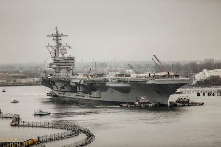 USS George H.W. Bush (CVN 77), at Norfolk Naval Shipyard for a Drydocking Planned Incremental Availability, has been a focus area as part of the Naval Sustainment System—Shipyards transformation, an aligned effort with Naval Sea Systems Command to ensure timely delivery of all of ship and submarine availabilities.