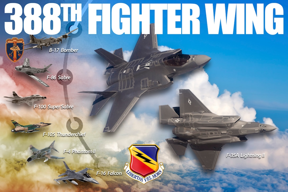 The 388th has flown many aircraft and missions since it's initial stand-up as the 388th Bombardment Group on Dec. 24, 1942. Now, the 388th Fighter Wing is responsible for employing the F-35A Lightning II aircraft worldwide in support of the national defense. (U.S. Air Force Graphic by David Perry)