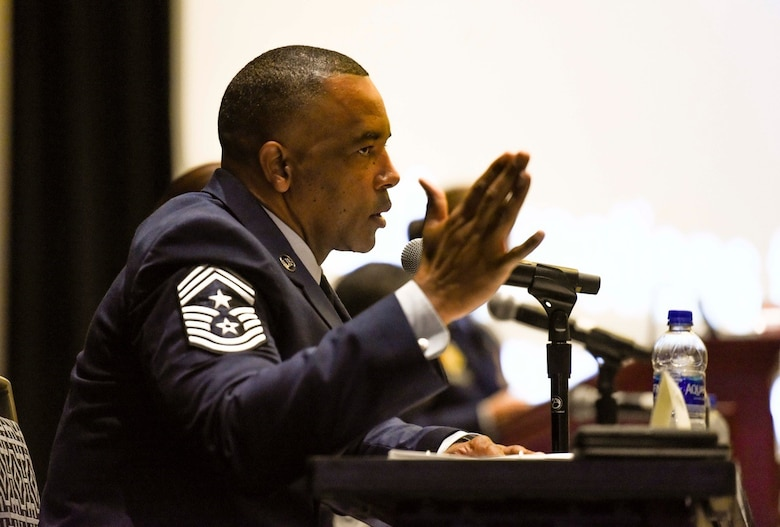 Chief Master Sgt. Tim White, Air Force Reserve Command command chief, discusses preparing the enlisted force for the future fight during the Air Force Association Air, Space and Cyber Conference in National Harbor, Maryland, Sept. 16, 2019. The ASC Conference is a professional development forum that offers the opportunity for Department of Defense personnel to participate in forums, speeches, seminars and workshops.  (U.S. Air Force photo by Tech. Sgt. Anthony Nelson Jr.)