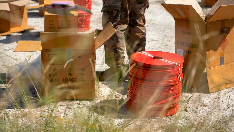 Unpacked explosives are placed at the Avon Park Air Force Range, Fla., prior to a controlled detonation Sept. 9, 2019. The Bureau of Alcohol, Tobacco, Firearms and Explosives seized over 7,000 pounds of explosives from a prior convicted felon in the largest explosives seizure in Florida history.