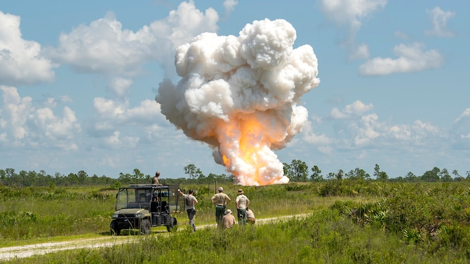 Members of the 6th Civil Engineer Explosive Ordnance Disposal Flight, the Bureau of Alcohol, Tobacco, Firearms and Explosives, and other local and state authorities, oversee a controlled detonation at the Avon Park Air Force Range, Fla., Sept. 9, 2019. The ATF seized over 7,000 pounds of explosives from a prior convicted felon in the largest explosives seizure in Florida history.