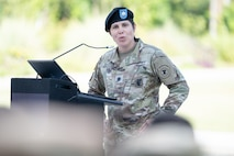 Lt. Col. Mary Rivera, commander, 5th Medical Recruiting Battalion, provides remarks during the Houston Medical Recruiting Company change of command ceremony at Hermann Park Conservancy, Houston, Texas, Sept. 5.
