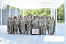 Soldiers assigned to the Houston Medical Recruiting Company pose for a group photo with Capt. Sanders, outgoing commander, Houston MRC, prior to the unit's biennial change of command ceremony at Hermann Park Conservancy, Houston, Texas, Sept. 5.