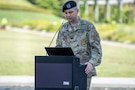 Sgt. 1st Class Anthony Merino, recruiter, Houston Medical Recruiting Station, provides remarks during the Houston Medical Recruiting Company change of command ceremony at Hermann Park Conservancy, Houston, Texas, Sept. 5.