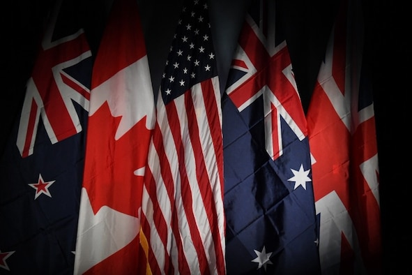 From left to right, the New Zealand, Canadian, United States of America, Australian and United Kingdom flag are displayed together representing the allied forces at Buckley Air Force Base, Colo., Sept. 12, 2019.