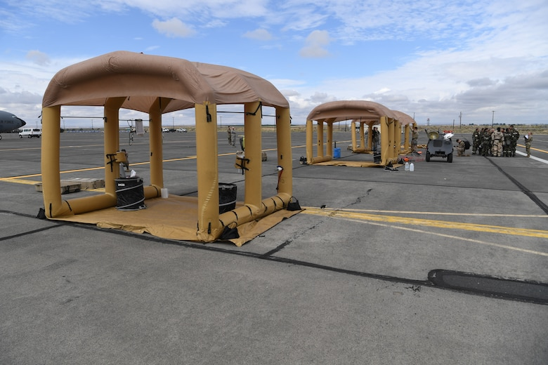 Decontamination stations stand ready to receive affected aircrew and passengers during Exercise Mobility Guardian at Yakima Air Terminal-McAllister Field, Washington, Sept. 16, 2019. Exercise Mobility Guardian brings together U.S. Air Force, joint and international partners from more than two dozen nations enhancing the vital partnerships needed to accomplish the mission. (U.S. Air Force photo by Tech. Sgt. Luther Mitchell)