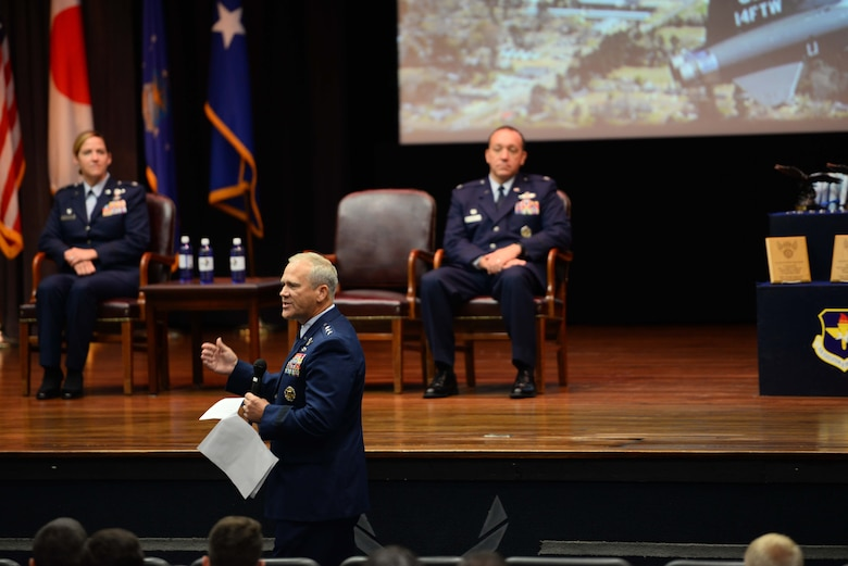 Retired Lt. Gen. Jeffrey Lofgren, former Deputy Chief of Staff for Capability Development, speaks to the graduating classes and their families, Sept. 13, 2019, on Columbus Air Force Base, Mississippi. Lofgren expressed how he felt extremely honored and humble to be a part of the ceremony and to speak to the newest pilots of the world's greatest Air Force. (U.S. Air Force photo by Airman 1st Class Jake Jacobsen)