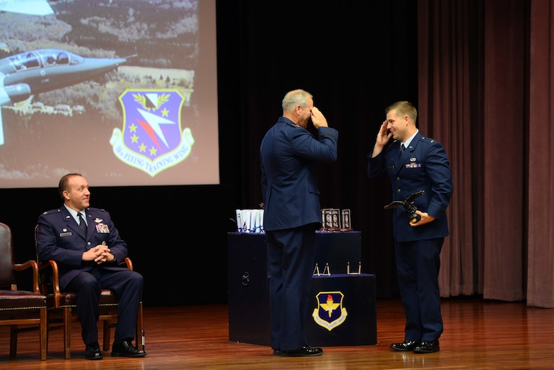 Retired Lt. Gen. Jeffrey Lofgren, former Deputy Chief of Staff for Capability Development, salutes 2nd Lt. Logan Adcock, Sept. 13, 2019, on Columbus Air Force Base, Mississippi. Lofgren presented three graduates the Air Education and Training Command Commander's Trophy for being the most outstanding students overall in their classes. (U.S. Air Force photo by Airman 1st Class Jake Jacobsen)