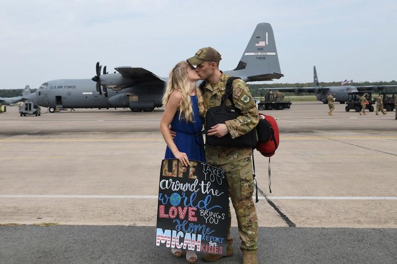 An Airman returns home from a deployment.
