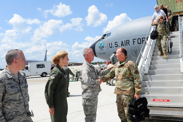 Col. Larry Shaw, 434th Air Refueling Wing Commander, and his leadership team welcomes Brig. Gen. Allan Swartzmiller, Air Force Reserve Command inspector general, as his team of more than 50 inspectors land at Grissom Air Reserve Base, Indiana for inspections Aug. 1, 2019. During Grissom's most recent inspection, the IG office focused on top leadership's priorities of improving readiness, promoting unit camaraderie, Airmen development and mission success. (U.S. Air Force photo/Master Sgt. Ben Mota)