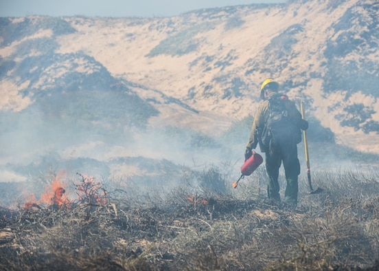 A member of Vandenberg Hotshots subdues a controlled fire Sept. 18, 2019 at Vandenberg Air Force Base, Calif. The goal of this one-day burn was to reduce the risk of wildfires, as well as increase the habitat for an endangered species that resides in the area by re-contouring the sand dunes for more suitable nesting conditions. (U.S. Air Force photo by Airman 1st Class Aubree Milks)