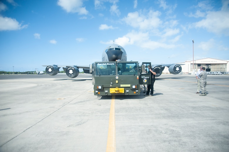 A hydrogen fuel cell powered U-30 Aircraft Tow Tractor tows a KC-135 Stratotanker assigned to the Hawaii Air National Guard 203rd Air Refueling Squadron, July 18, 2019, Joint Base Pearl Harbor-Hickam, Hawaii.
